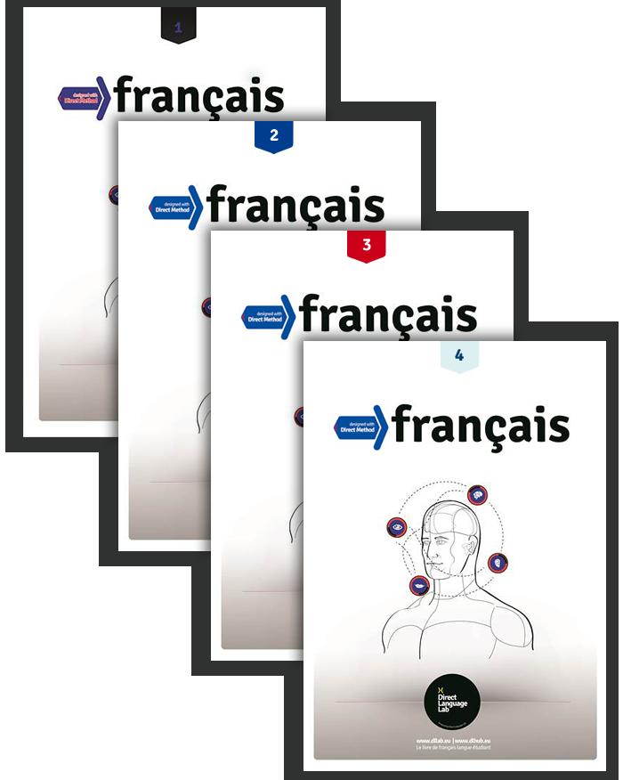 Seria czterech podręczników do nauki języka francuskiego w grodzisku mazowieckim.
