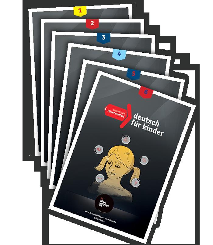 Seria sześciu podręczników do nauki języka niemieckiego dla dzieci w fonetyce szkole języków obcych w Grodzisku Mazowieckim