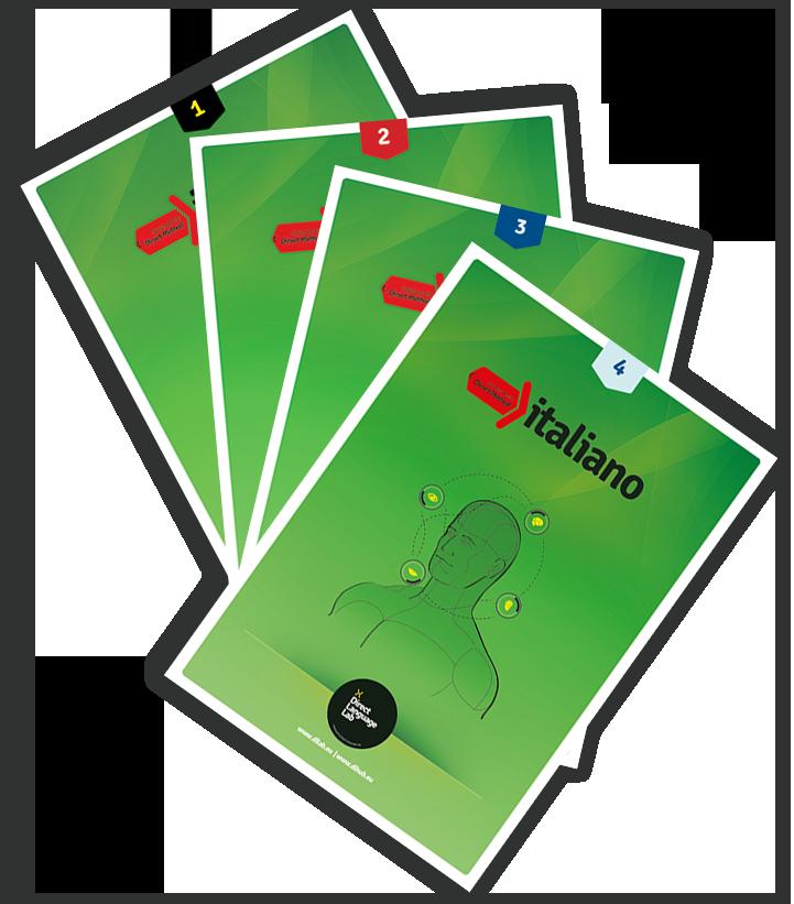 Cztery podręczniki do nauki języka włoskiego z serii Italiano w szkole językowej Fonetyka w Grodzisku Mazowieckim.